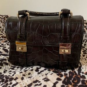 Kenneth Cole Croc Embossed Brown Leather Satchel